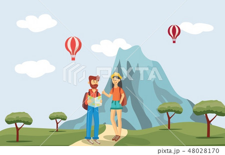 Vector man and woman tourists near mountain 48028170