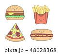 ファストフード ハンバーガー ご飯のイラスト 48028368
