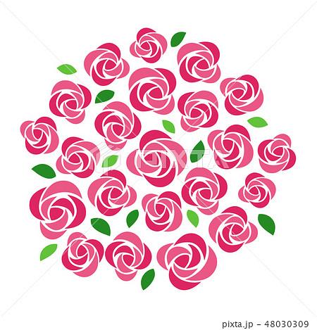 たくさんのピンクのバラのイラスト素材 48030309 Pixta