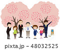 お花見で桜を楽しむカップル 48032525