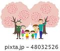 お花見で桜を楽しむ3世帯家族 48032526