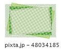 パッチワーク風フレーム 背景素材 ポストカード 水玉とチェック柄 48034185