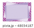 パッチワーク風フレーム 背景素材 ポストカード 水玉とチェック柄 48034187