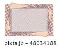 パッチワーク風フレーム 背景素材 ポストカード 水玉とチェック柄 48034188