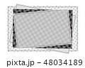 パッチワーク風フレーム 背景素材 ポストカード 水玉とチェック柄 48034189