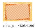 パッチワーク風フレーム 背景素材 ポストカード 水玉とチェック柄 48034190