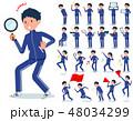 flat type school boy Blue jersey_Action 48034299