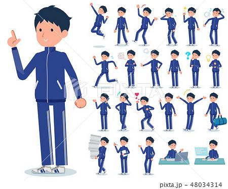 flat type school boy Blue jersey_emotion 48034314