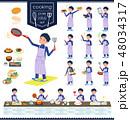 flat type school boy Blue jersey_cooking 48034317
