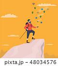 トレッキング 山歩き 人のイラスト 48034576