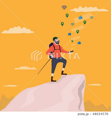 trekking man on top of mountain using smartphone  48034576