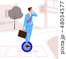businessman riding  mono wheel vector illustration 48034577