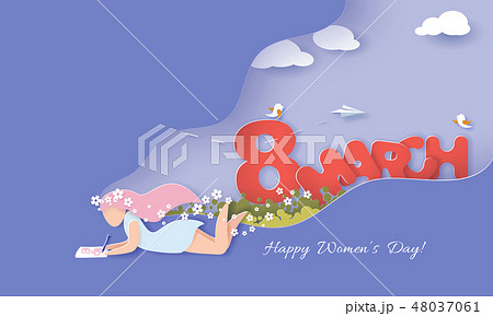 Happy Women Day holiday card paper cut style 48037061