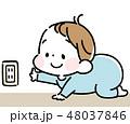 コンセントに触ろうとする赤ちゃん 48037846