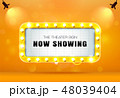 theater sign on gold curtain vector illustrator 48039404