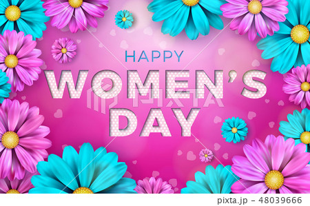 8 March. Happy Womens Day Floral Greeting card. International Holiday Illustration with Flower 48039666