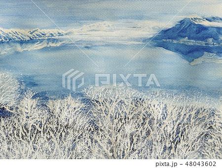 摩周湖 樹氷 霧 北海道 雪景色 観光地 霧氷 48043602