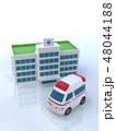 CG 3D イラスト 立体 デザイン 車 救急車 医療 病院 保険 ケガ 病気 緊急 救命 入院 48044188