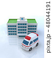 CG 3D イラスト 立体 デザイン 車 救急車 医療 病院 保険 ケガ 病気 緊急 救命 入院 48044191