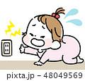 コンセントに触って泣く女の赤ちゃん 48049569
