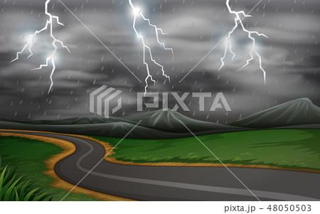 A thunderstorm road  scene 48050503