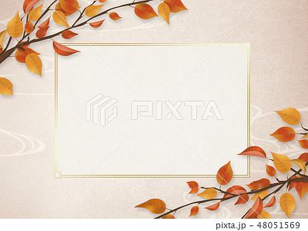 背景素材-ホワイトボード-和紙-紅葉-枯葉-秋 48051569