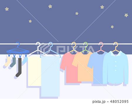 夜の洗濯物イラスト 48052095
