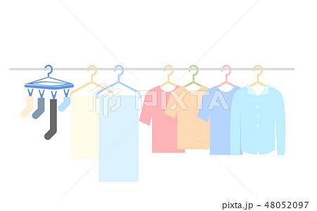 物干し竿にかけられた洗濯物のイラスト 48052097