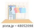 洗濯物の室内干しイラスト 除湿機 48052098