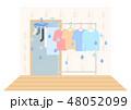 洗濯物の室内干しイラスト 湿気 48052099