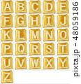 焦げたトーストに白いアルファベットの大文字の素材 48059186