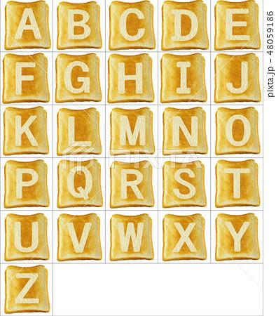焦げたトーストに白いアルファベットの大文字の素材のイラスト