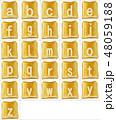 焦げたトーストに白いアルファベットの小文字の素材 48059188