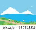 夏素材(横)-ひまわりと海の見える風景3 48061358