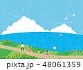 夏素材(横)-ひまわりと海の見える風景3テク 48061359