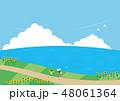 夏素材(横)-ひまわりと海の見える風景6 48061364