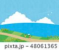 夏素材(横)-ひまわりと海の見える風景6テク 48061365