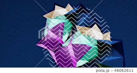Color geometric abstract background, minimal abstraction design with mosaic style 3d shape 48062611