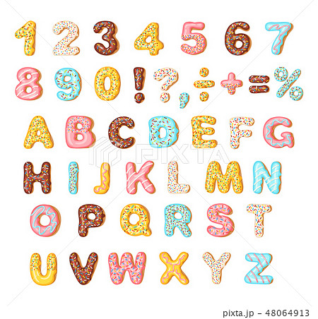 Cookies with colorful glaze set, alphabet and numbers 48064913