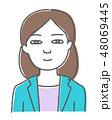 女性 スーツ 笑顔のイラスト 48069445