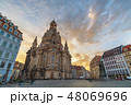 Dresden Germany, sunrise at Frauenkirche Church 48069696