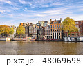 Amsterdam Netherlands, city skyline at canal 48069698