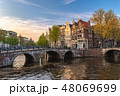 Amsterdam Netherlands, city skyline at canal 48069699