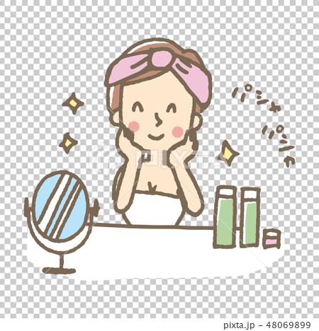 化粧水をつける女性【線画・シリーズ】 48069899