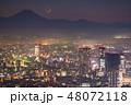 《東京都》霧に包まれた東京西部の夜景・富士山の影と月 48072118