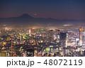 《東京都》霧に包まれた東京西部の夜景・富士山の影と月 48072119