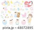 赤ちゃん 母親 子育てのイラスト 48072895