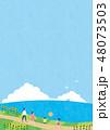 夏素材(縦)-ひまわりと海の見える風景1テク 48073503