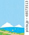 夏素材(縦)-ひまわりと海の見える風景4テク 48073513