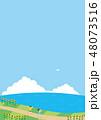 夏素材(縦)-ひまわりと海の見える風景5 48073516